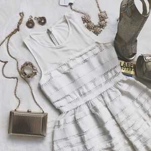 NWT Wow Couture Gold Label White Fit & Flare Dress